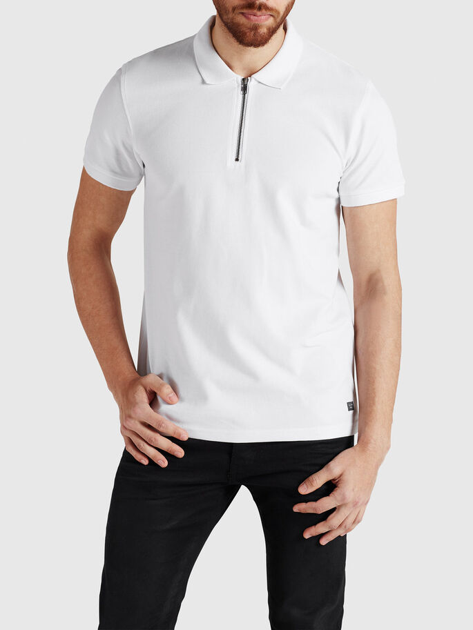 ZIP DETAIL POLO SHIRT, White, large