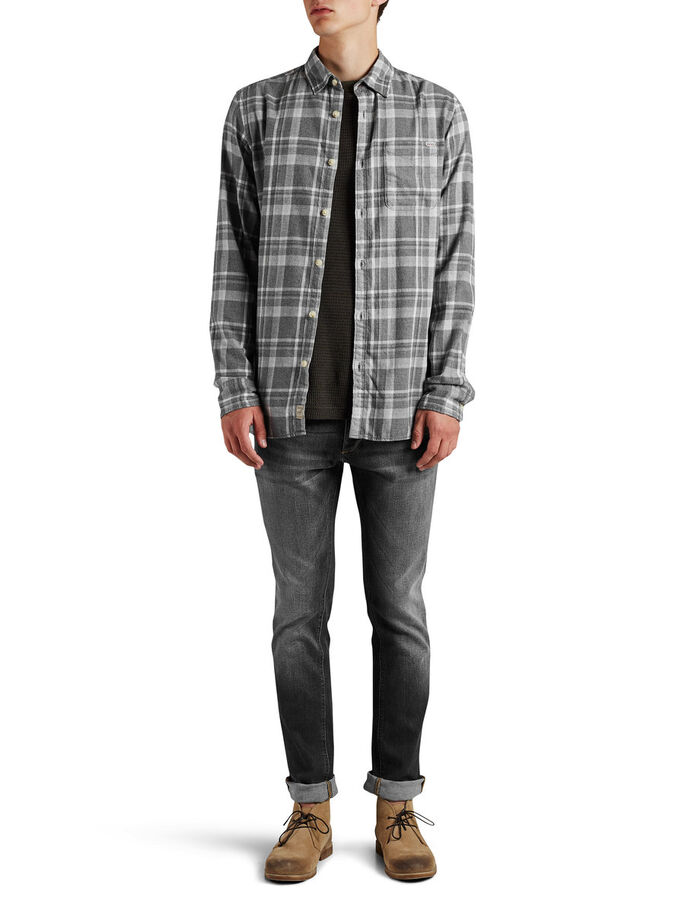 CHECKED LONG SLEEVED SHIRT, Grey Melange, large