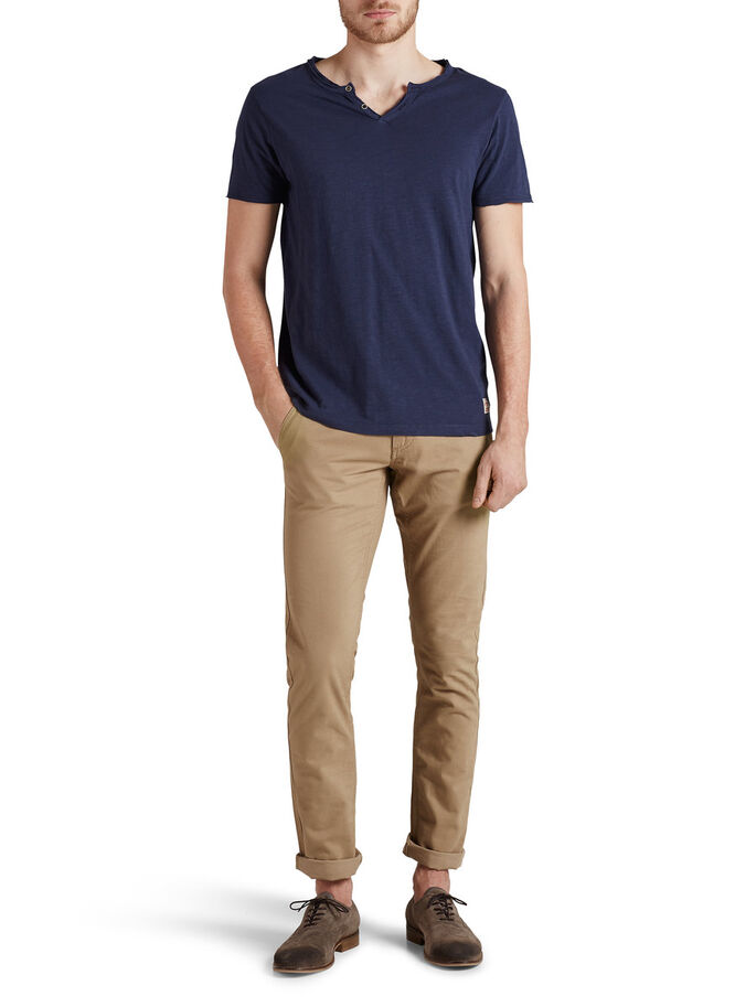 SPILT NECK T-SHIRT, Mood Indigo, large