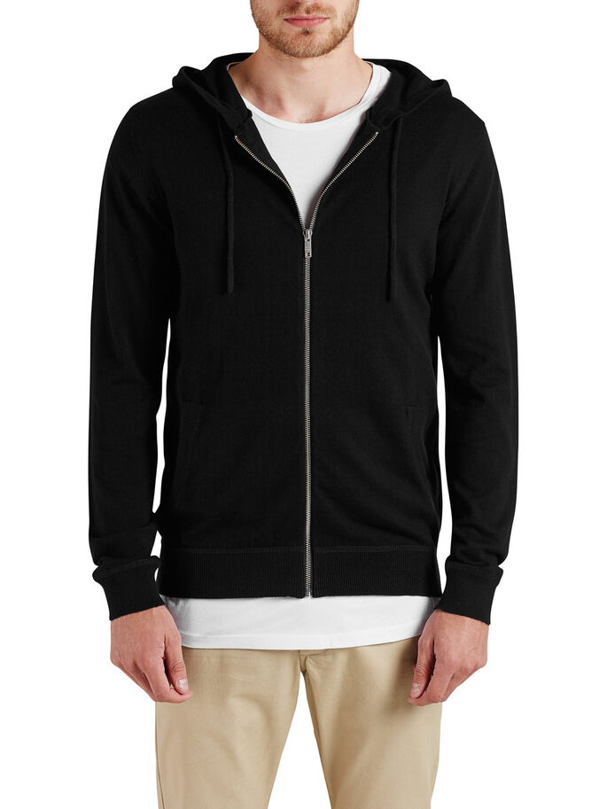 HOODED HOODIE, Black, large