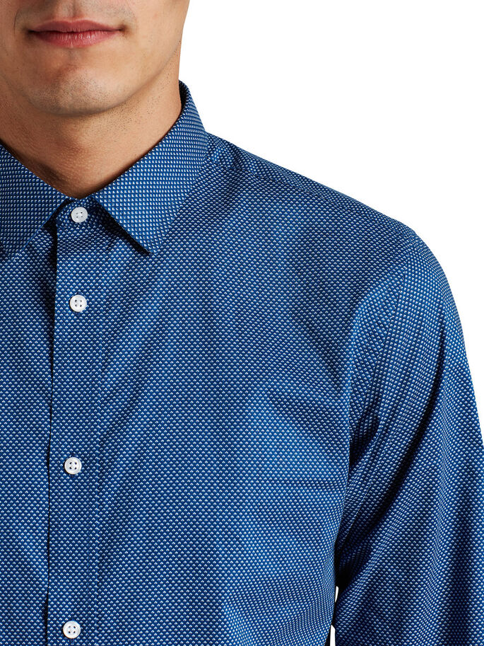 PRINTED LONG SLEEVED SHIRT, Insignia Blue, large
