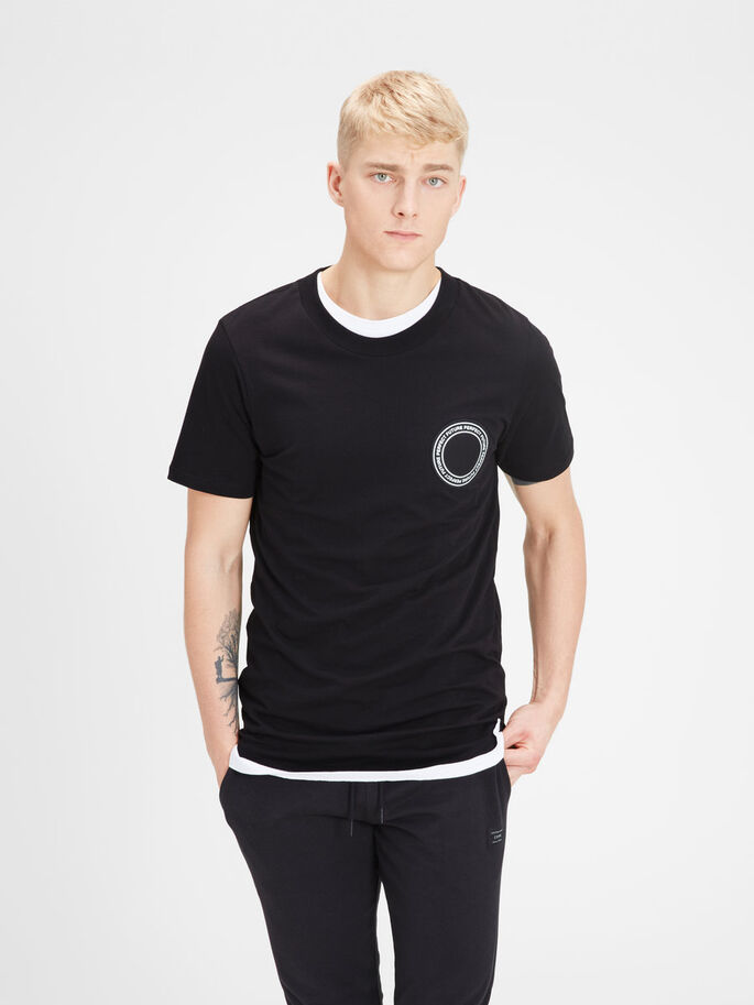 LONGER LENGTH T-SHIRT, Black, large