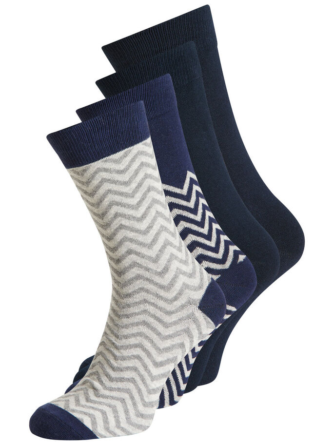 CLASSIC 4 PACK SOCKS, Navy Blazer, large