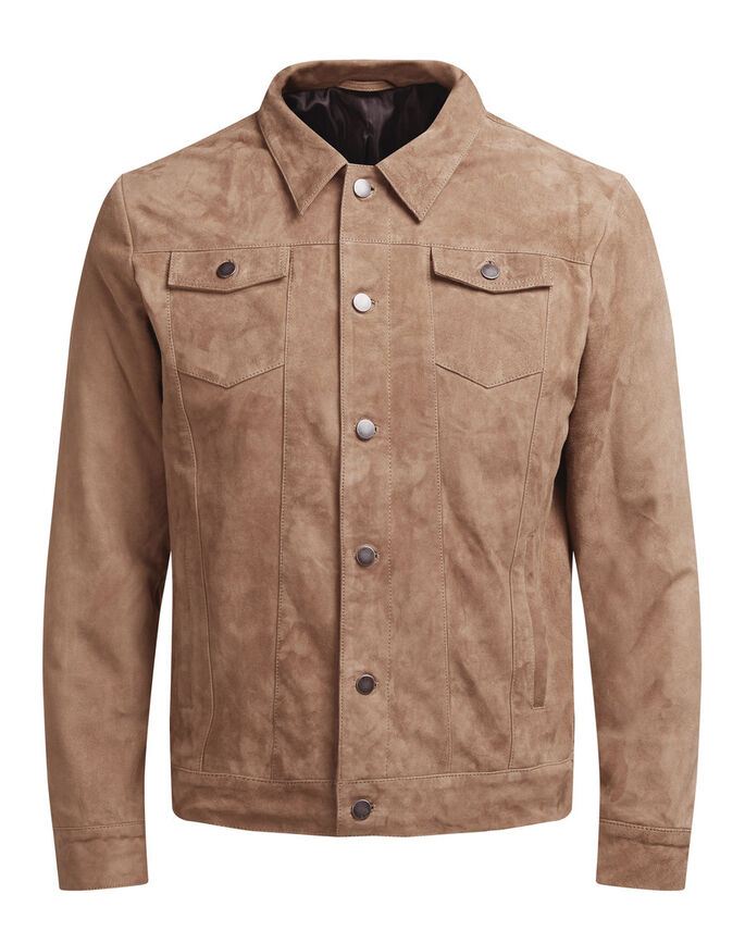 SUEDE LEATHER JACKET, Camel, large