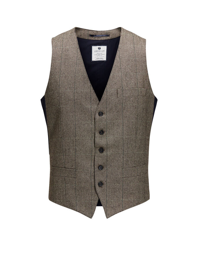 FORMAL WAISTCOAT, Brown Stone, large