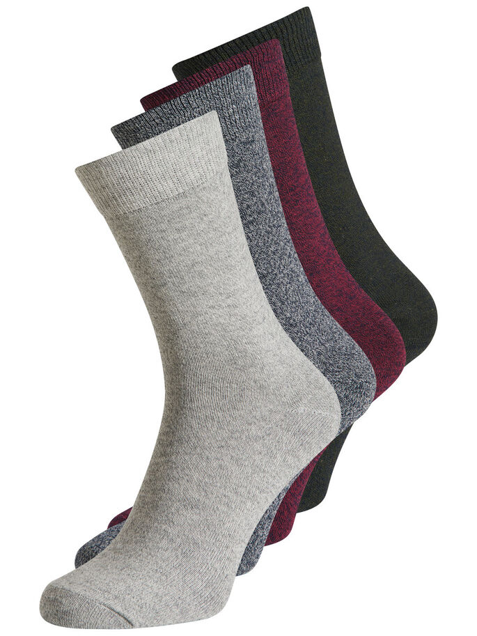 4-PACK MED KLASSISKA STRUMPOR, Light Grey Melange, large