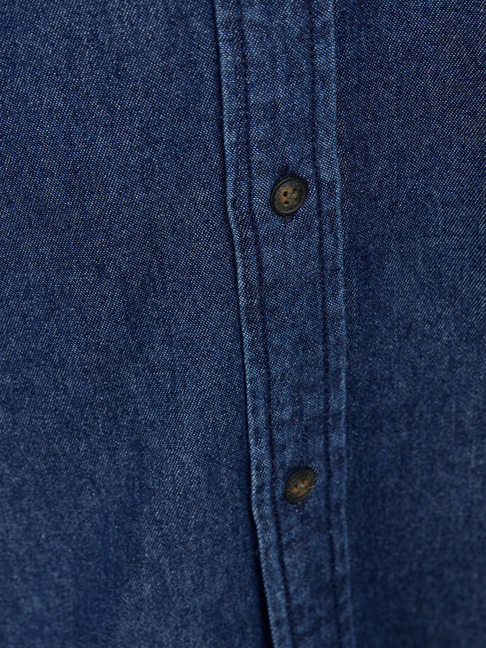 LANGE MOUW SPIJKERBLOUSE, Dark Blue Denim, large