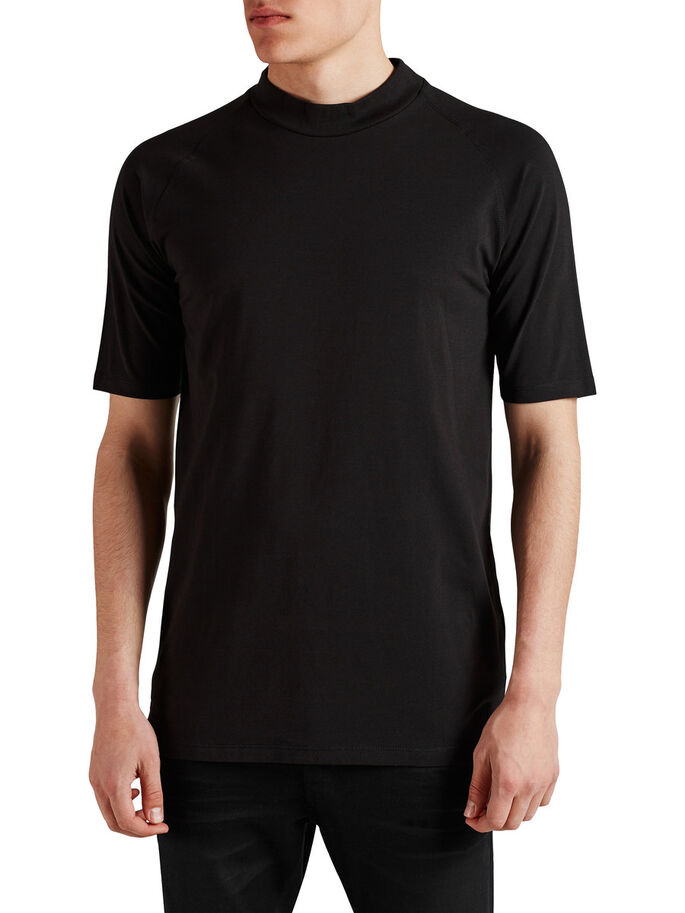 HIGH NECK T-SHIRT, Black, large