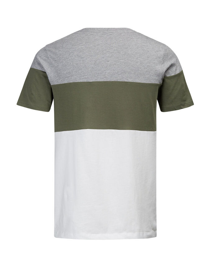 COLOUR BLOCK T-SHIRT, Light Grey Melange, large