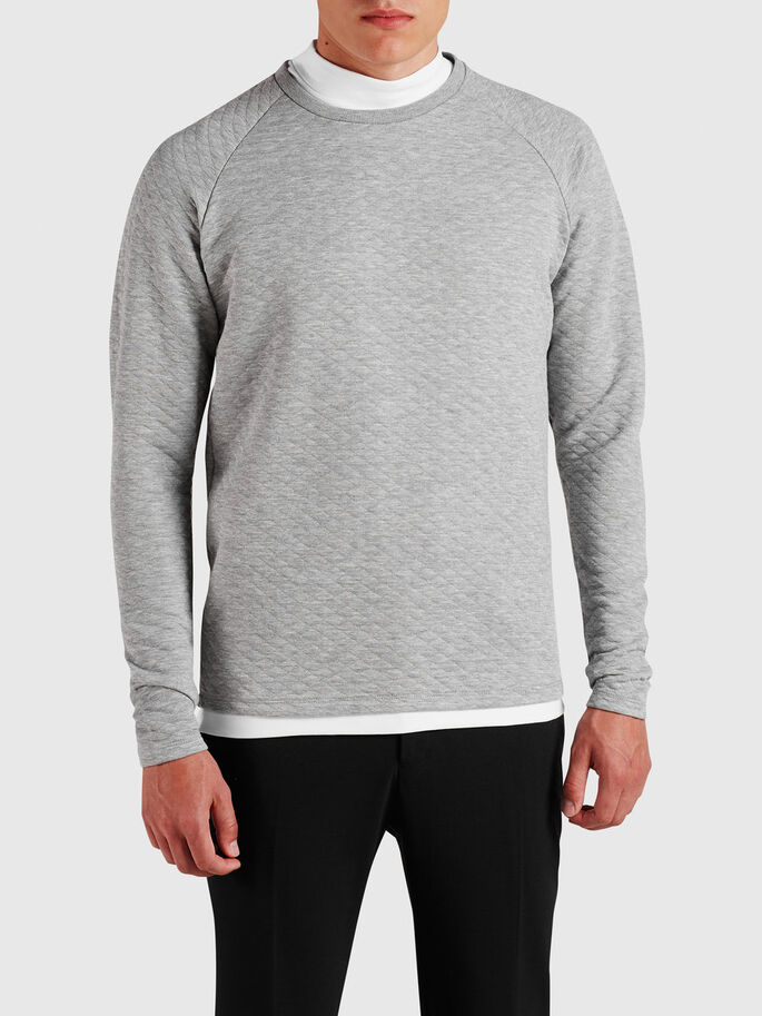 MATELASSÉ SWEAT-SHIRT, Light Grey Melange, large