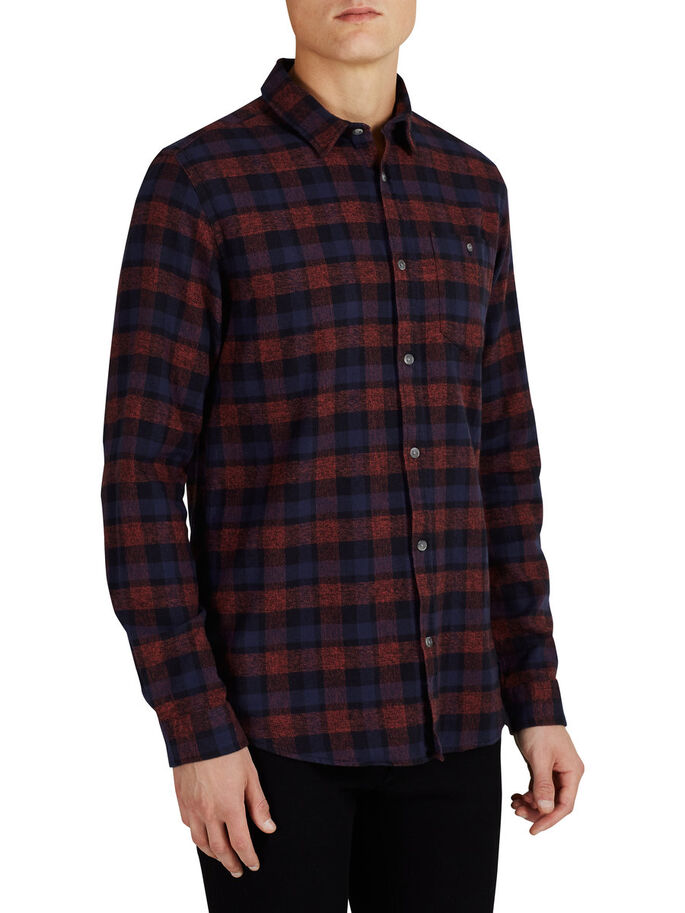 CHECK LONG SLEEVED SHIRT, Rosewood, large