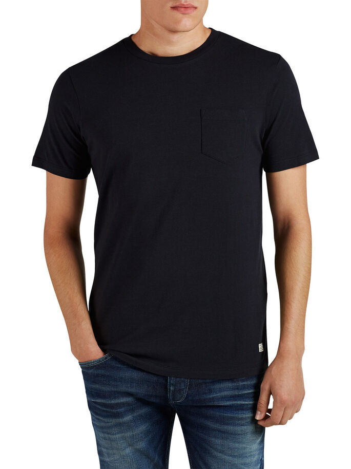 SINGLE POCKET T-SHIRT, Caviar, large