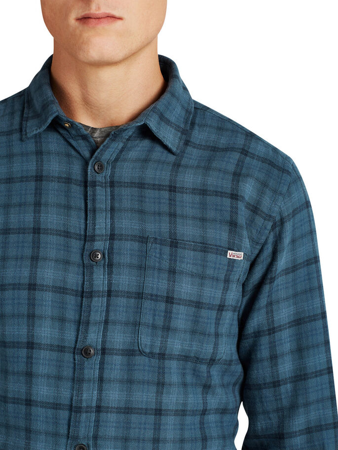 CLASSIC CHECKED LONG SLEEVED SHIRT, Ensign Blue, large
