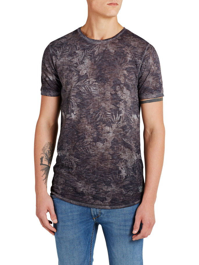 BLEKT BLOMMIG T-SHIRT, Rum Raisin, large