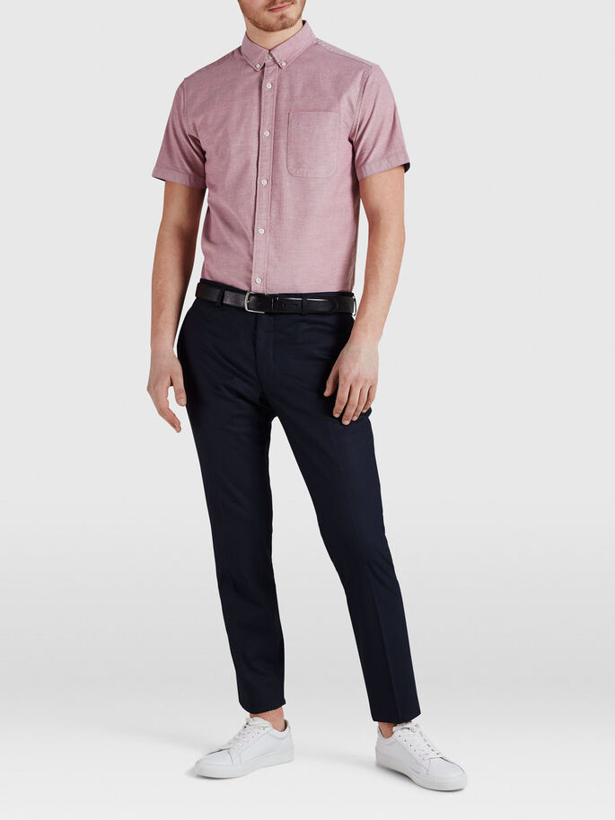 RELAXED BOTTOM-DOWN SHORT SLEEVED SHIRT, Rosewood, large