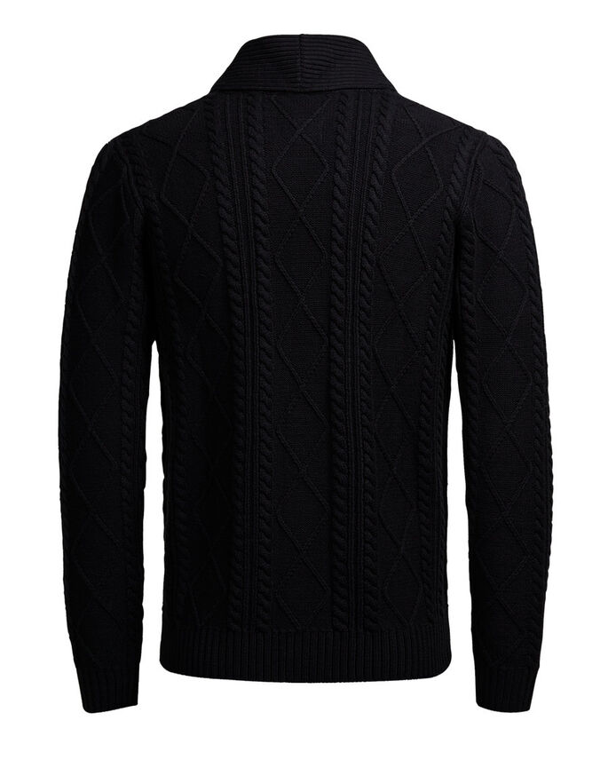 CABLE KNIT SHAWL NECK CARDIGAN, Caviar, large