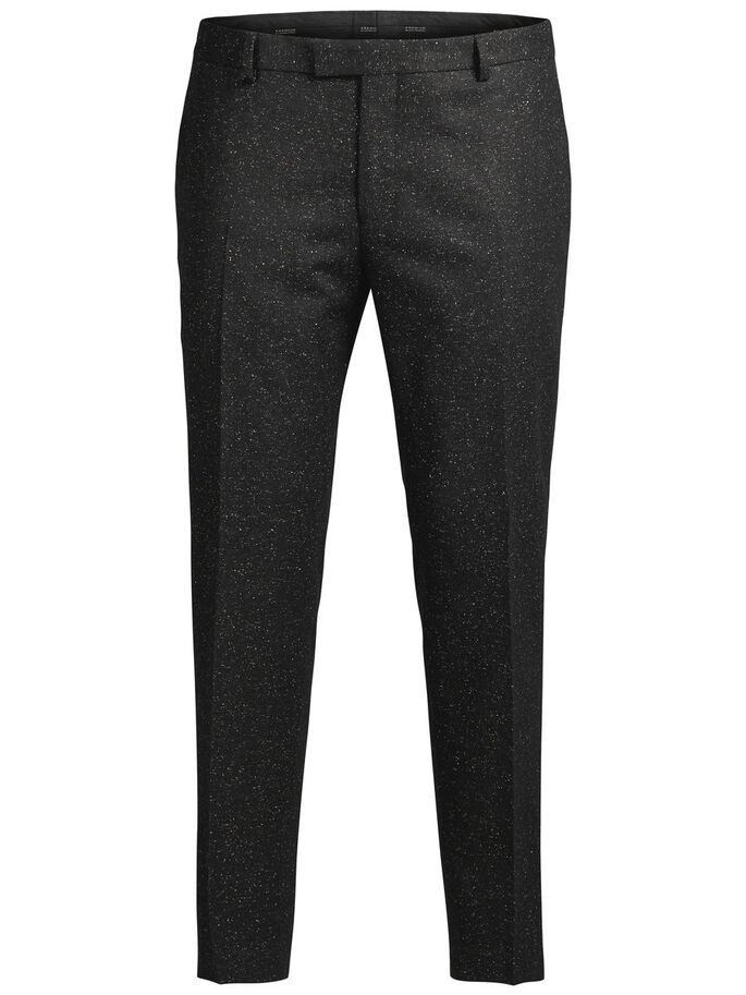 FLECKED WOOL AND SILK TROUSERS, Black, large