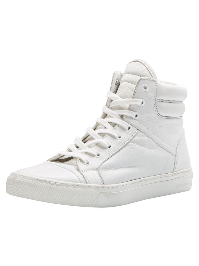 HIGH-TOP LEATHER SNEAKERS, Bright White, large
