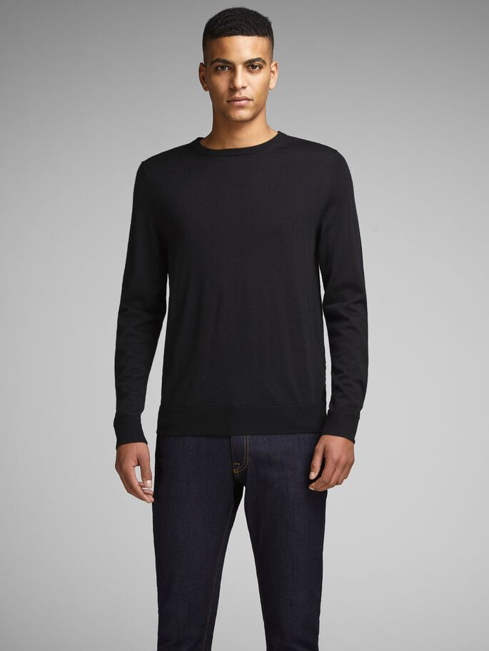 MERINO-ULD PULLOVER, Black, large
