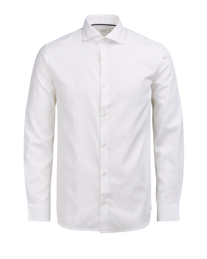 SPREAD COLLAR LONG SLEEVED SHIRT, White, large
