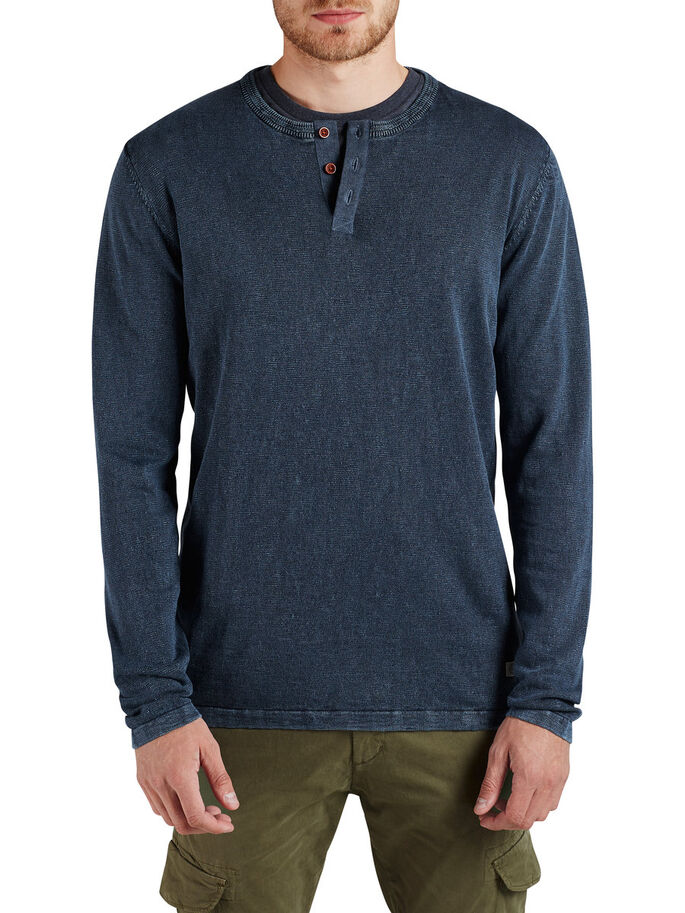 GRANDAD NECK PULLOVER, Dark Denim, large
