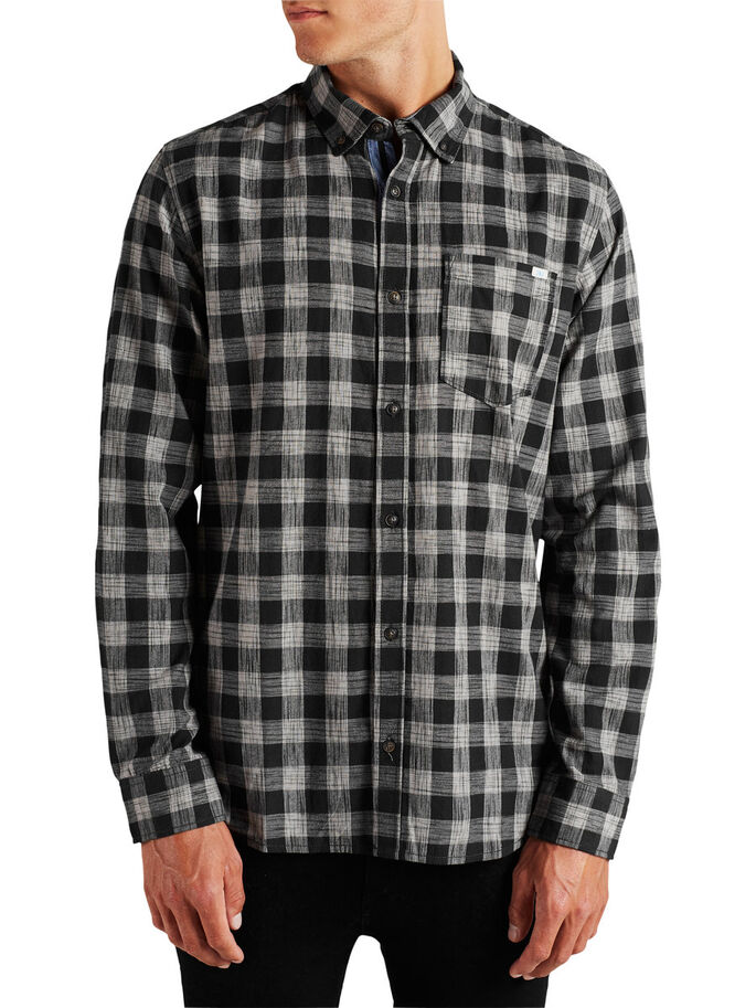 CHECK LONG SLEEVED SHIRT, Black, large