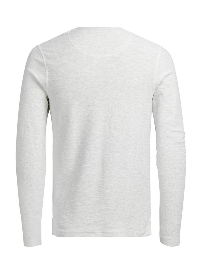 GRANDAD MELANGE LONG-SLEEVED T-SHIRT, White Melange, large