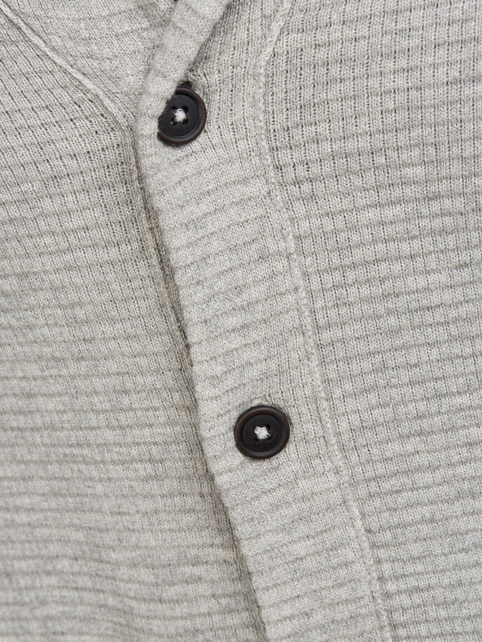 SHAWL NECK CARDIGAN, Lead Gray, large
