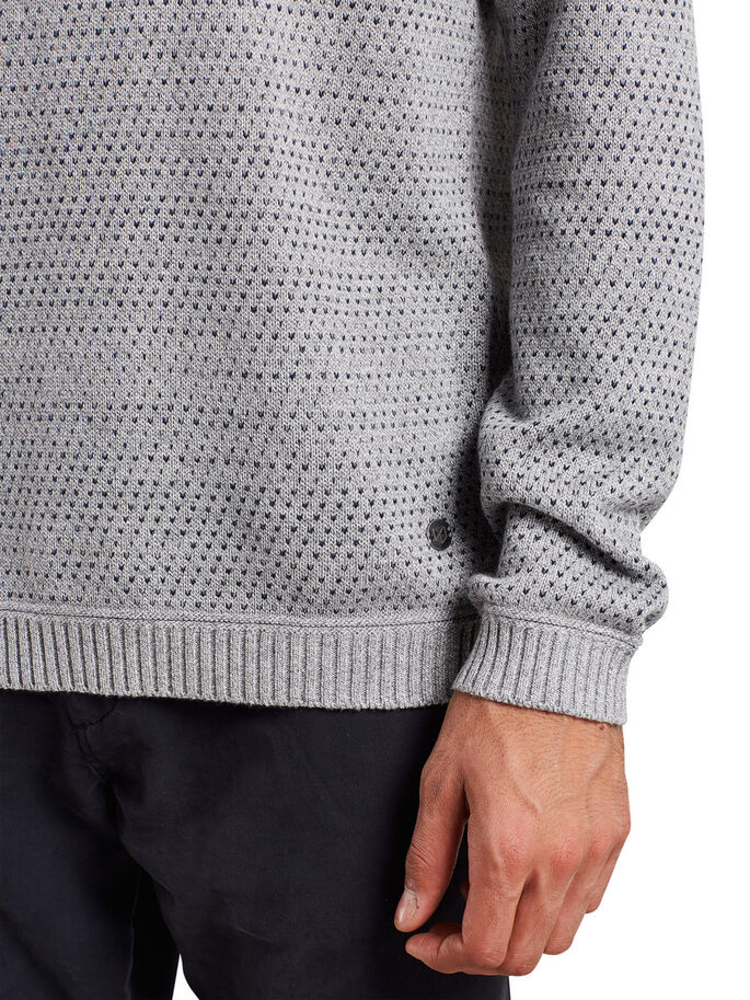 PATTERNED PULLOVER, Grey Melange, large