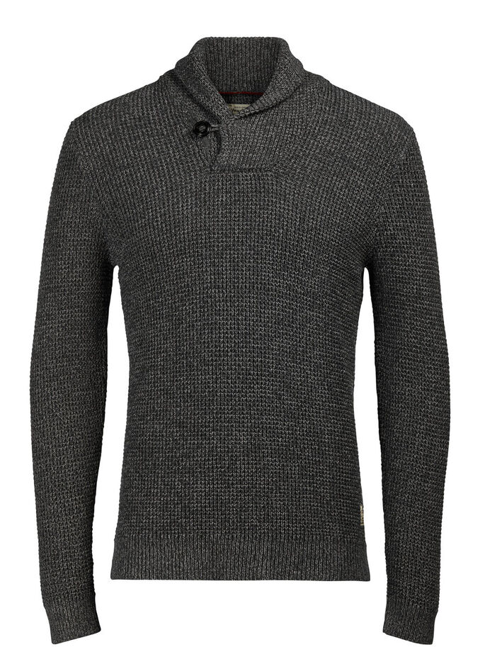 WAFFLE KNIT SHAWL NECK PULLOVER, Dark Grey Melange, large