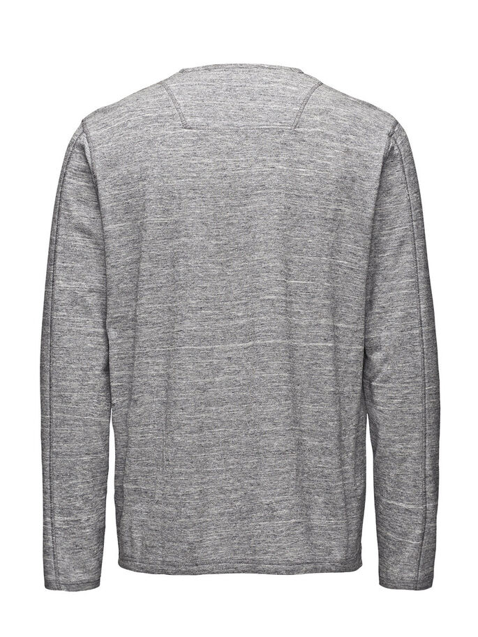 DETAILED KNIT T-SHIRT, Light Grey Melange, large