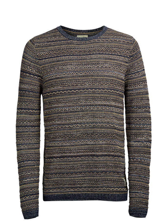 JACQUARD KNITTED PULLOVER, Total Eclipse, large