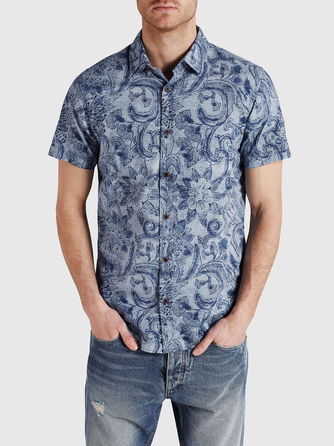 FLORAL PRINT CASUAL SHIRT, Dusk Blue, large