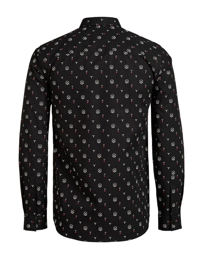 ALL-OVER PRINTED LONG SLEEVED SHIRT, Black, large