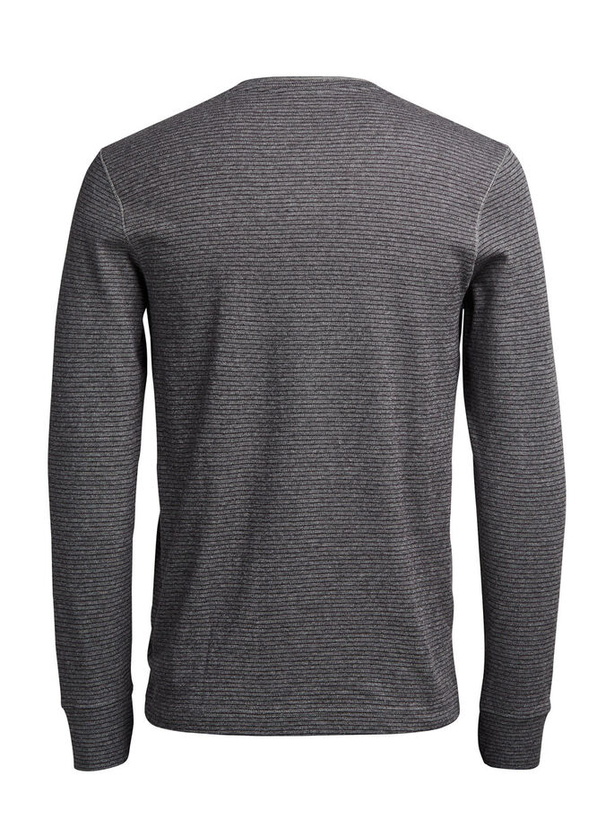 STRIPED LONG-SLEEVED T-SHIRT, Light Grey Melange, large