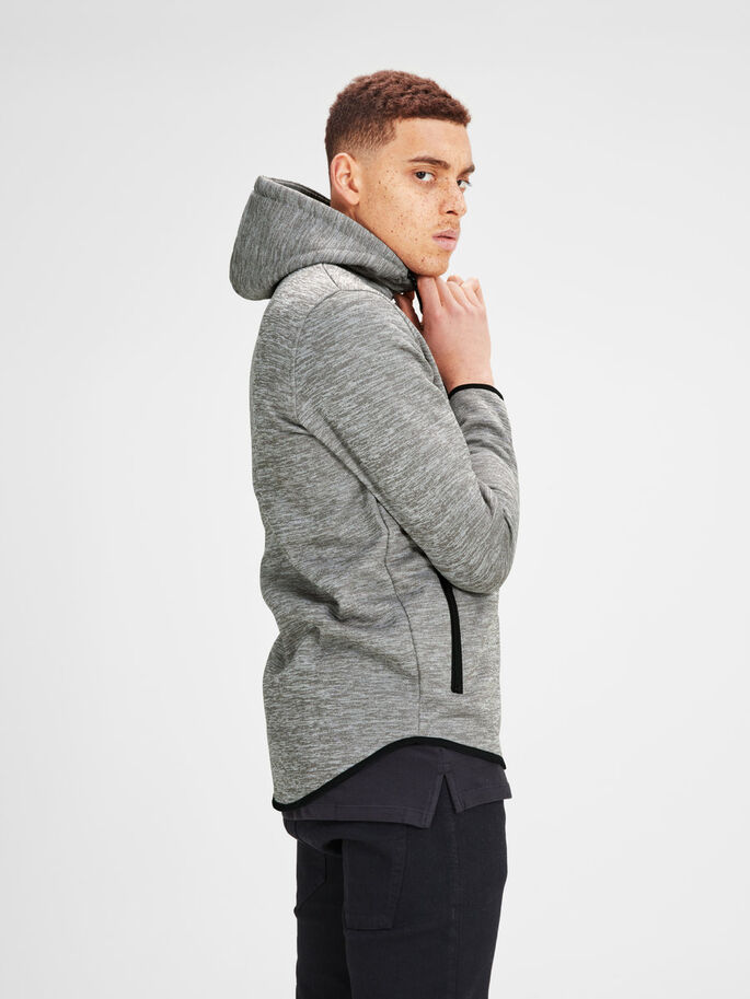 URBAN ZIPPED SWEAT, Light Grey Melange, large