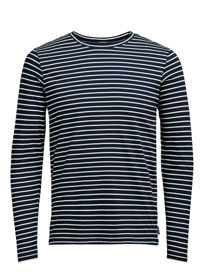 STRIPED LONG-SLEEVED T-SHIRT, Navy Blazer, large