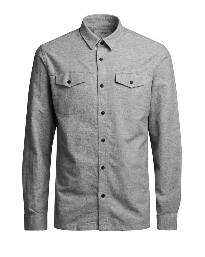 KLASSISK LANGÆRMET SKJORTE, Light Grey Melange, large