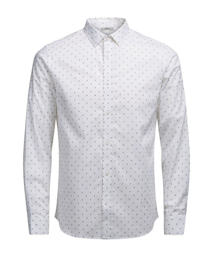ESTAMPADA CAMISA DE MANGA LARGA, White, large