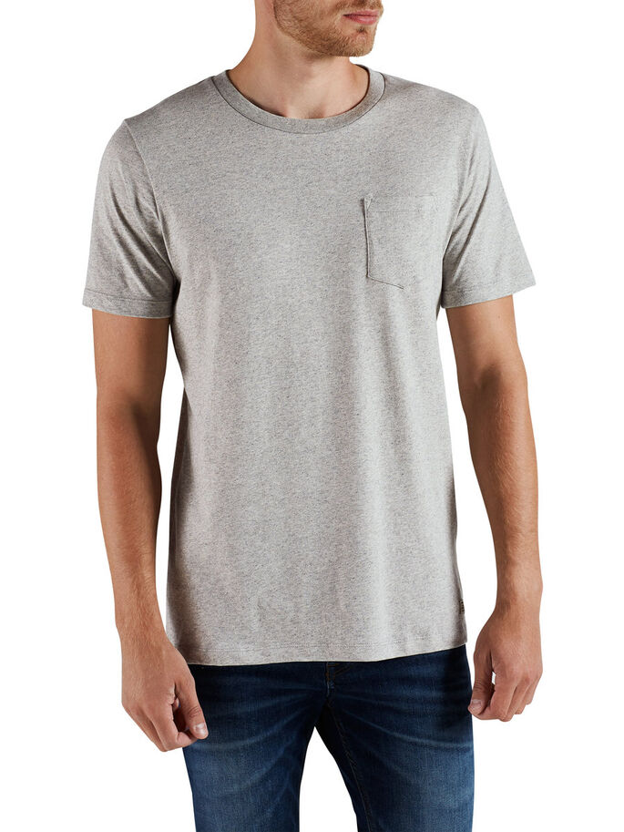 POCHE UNIQUE T-SHIRT, Light Grey Melange, large