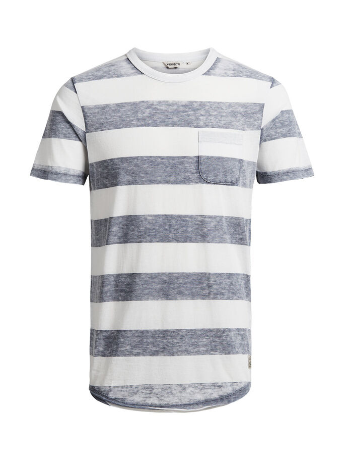 STRIPED MELANGE T-SHIRT, Mood Indigo, large