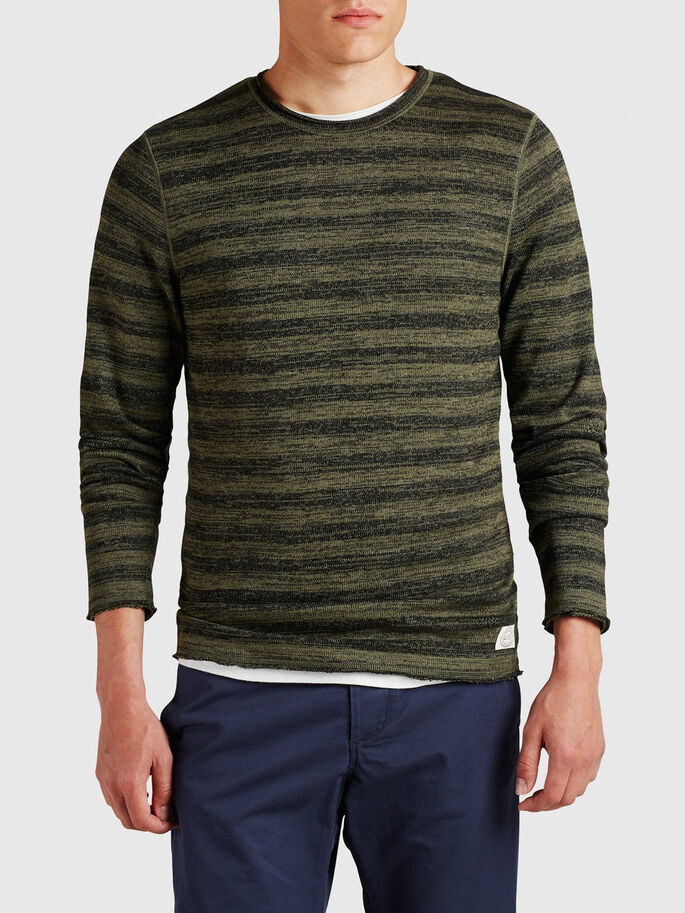STREIFENMELANGE- SWEATSHIRT, Olive Night, large