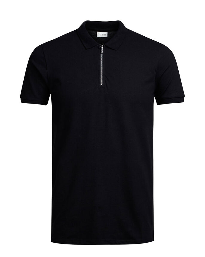 ZIPPED POLO SHIRT, Black, large