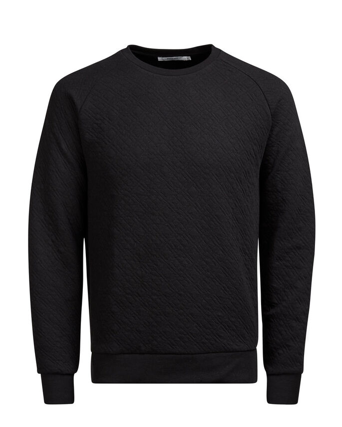GEWATTEERD SWEATSHIRT, Black, large