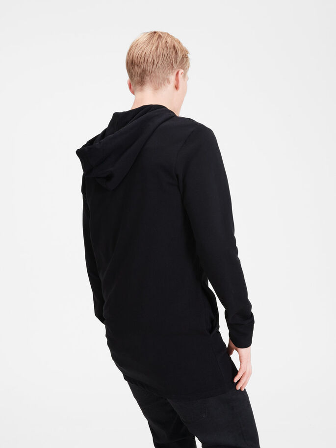 LONG LINE HOODIE, Black, large