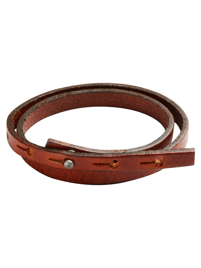 LEATHER WRISTBAND BRACELET, Cognac, large