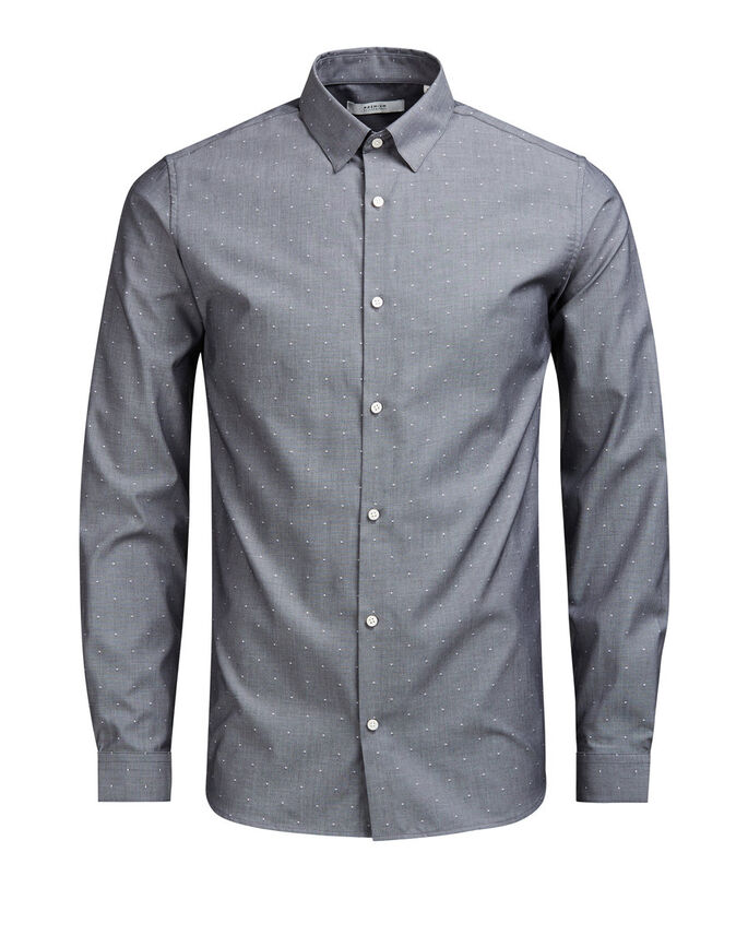 COTTON LONG SLEEVED SHIRT, Dark Grey Melange, large
