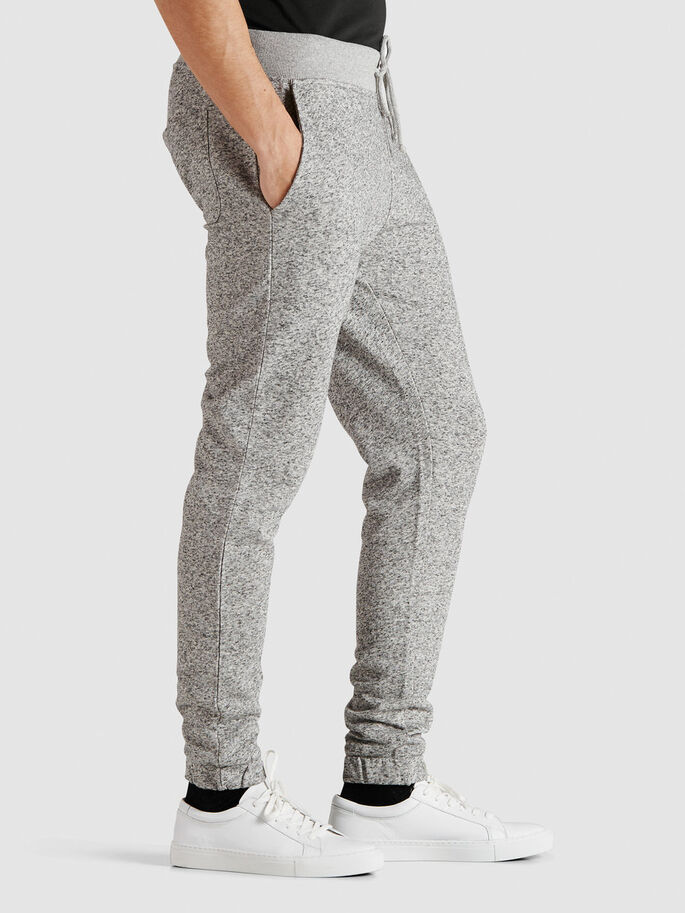 TIGHT FIT SWEAT PANTS, Grey Melange, large