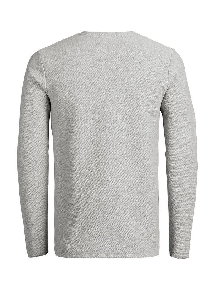 STOER T-SHIRT MET LANGE MOUWEN, Light Grey Melange, large