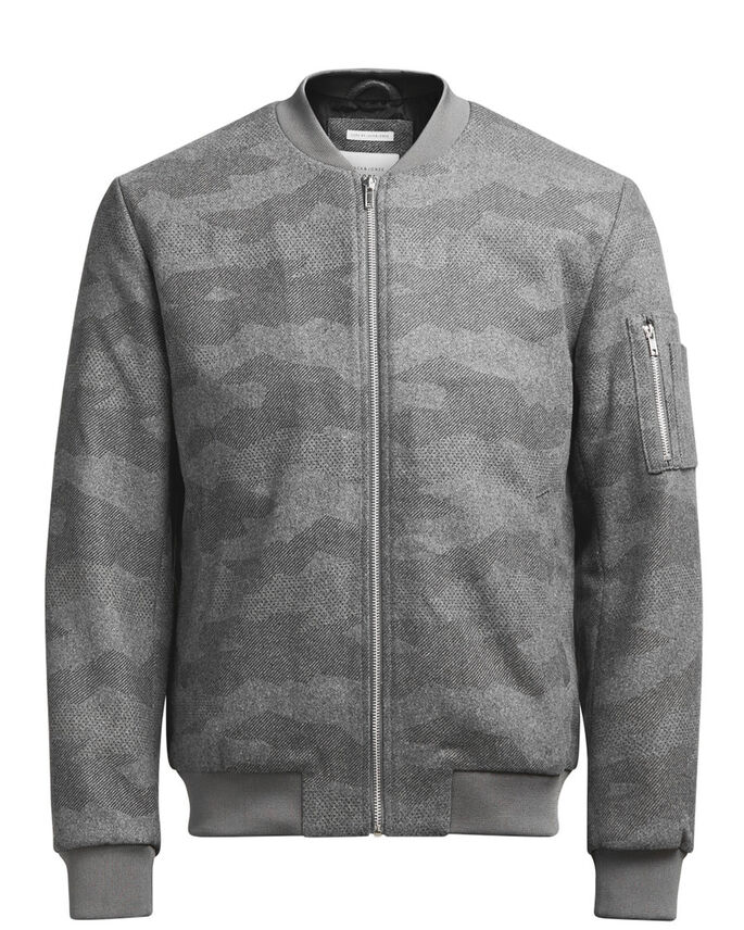 CAMO JACKET, Grey Melange, large